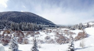 Looking downvalley from Keystone on a recent cold and snowy morning.